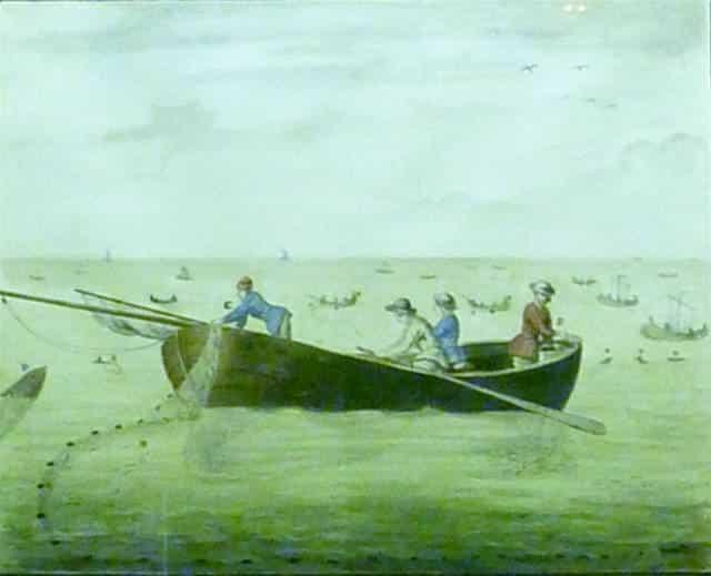 1756 : Christophe-Paul de Robien, Pêche de la sardine (dessin aquarellé sur papier)